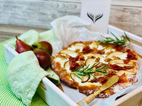 Pizza-Birne-und-Ziegenkäse-Rezept