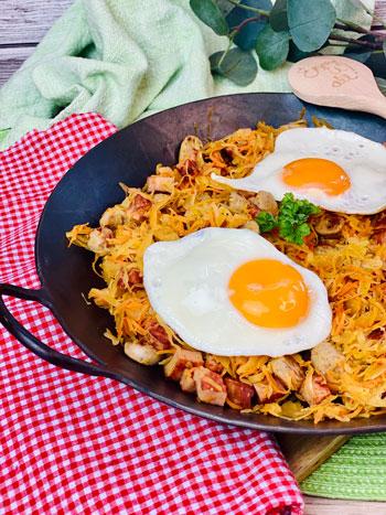 Schnelle-Sauerkrautpfanne-mit-Leberkäse-und-Bratwurst-rezept-2